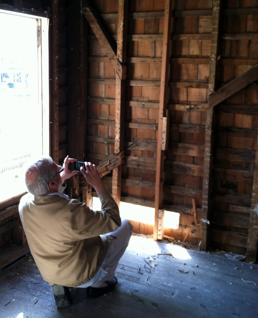 Southampton Town Historian and architectural historian Zach Studenroth documenting the Weathervane in 2012, a project funded by the Society.