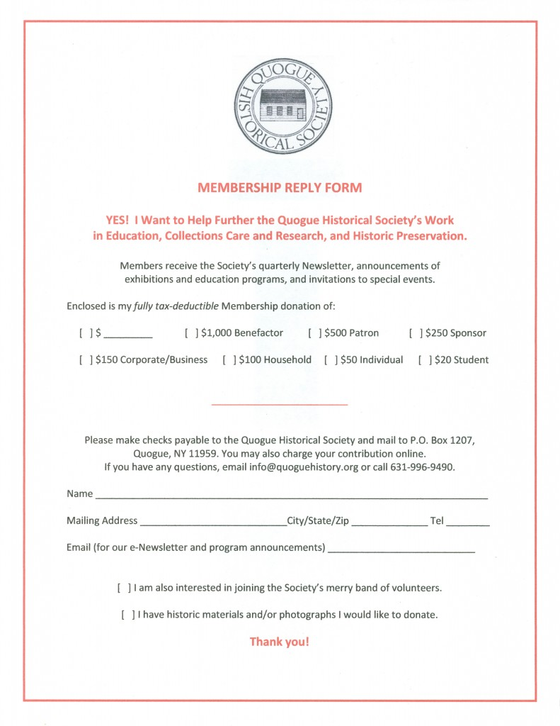 QHS Membership Reply Form