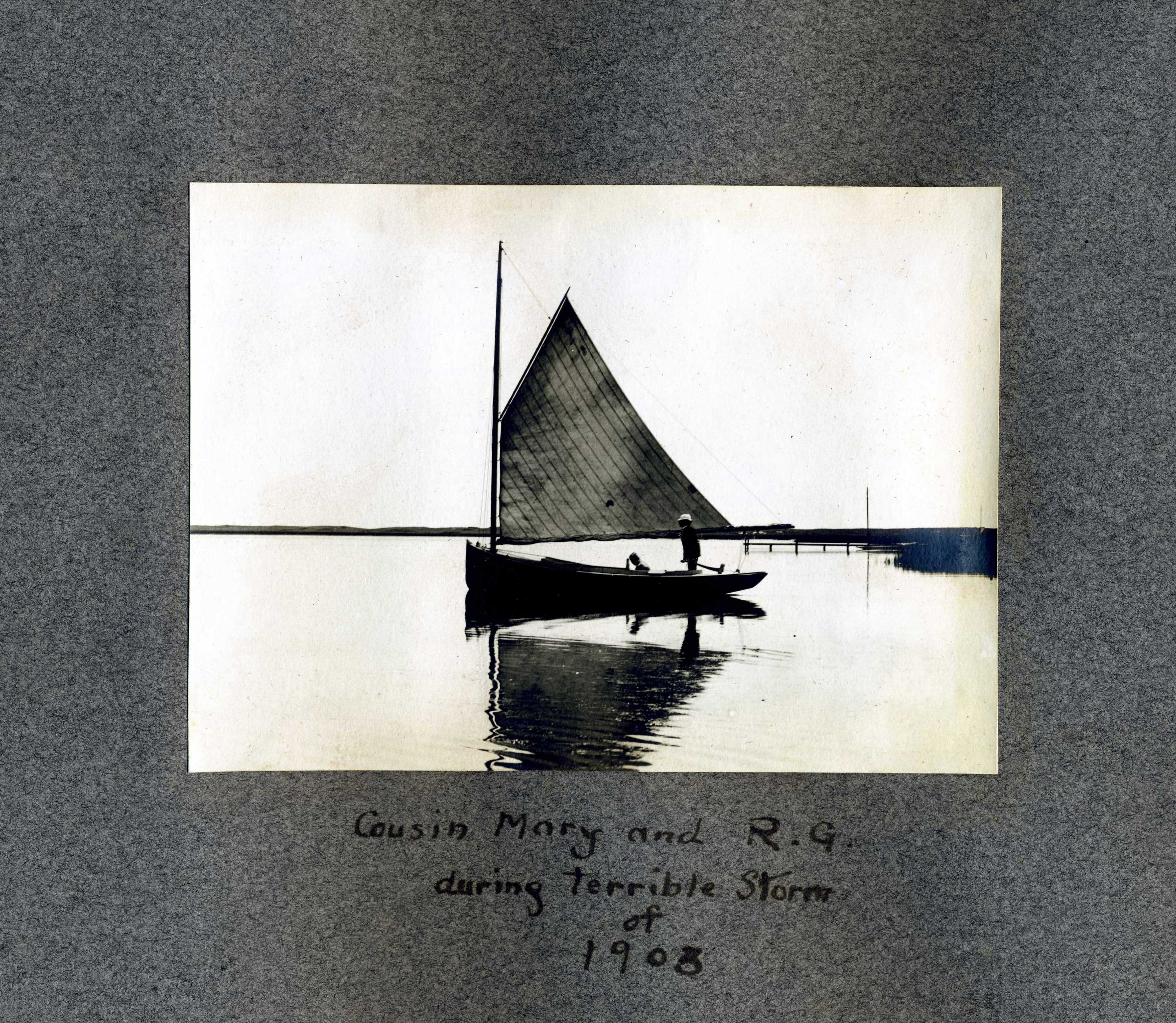 Boat in Still Water with Album Caption